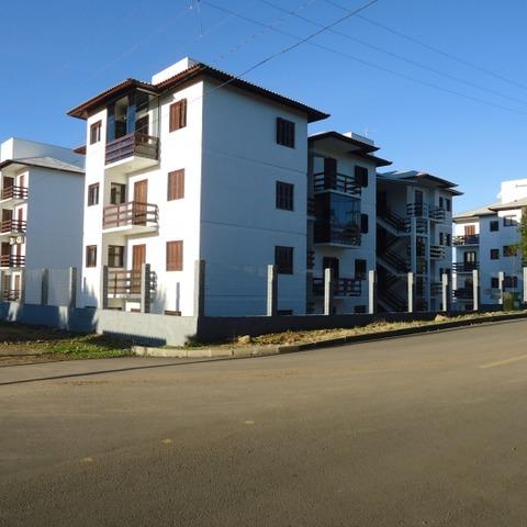 Apartamento com dois dormitórios e box de garagem coberto, localizado no bairro Fazenda Pirajá, na cidade de Nova Petrópolis-RS.
